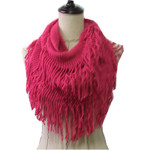 HOT PINK FRINGE PRINT LONG COTTON NECK SCARF NS1-0163HPK