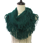 GREEN FRINGE PRINT LONG COTTON NECK SCARF NS1-0163GRN