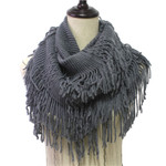 GRAY FRINGE PRINT LONG COTTON NECK SCARF NS1-0163GRY