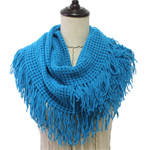 BLUE FRINGE PRINT LONG COTTON NECK SCARF NS1-0165BLU