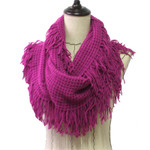 PURPLE FRINGE PRINT LONG COTTON NECK SCARF NS1-0165PPL