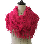 HOT PINK FRINGE PRINT LONG COTTON NECK SCARF NS1-0165HPK