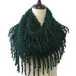 GREEN FRINGE PRINT LONG COTTON NECK SCARF NS1-0166GRN