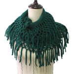 GREEN FRINGE PRINT LONG COTTON NECK SCARF NS1-0164GRN