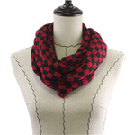 RED CHECKERED LONG COTTON NECK SCARF NS1-0168RED