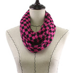HOT PINK CHECKERED LONG COTTON NECK SCARF NS1-0168HPK