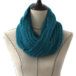 TURQUOISE SEQUENCE LONG COTTON NECK SCARF NS1-0171TRQ