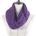 PURPLE SEQUENCE LONG COTTON NECK SCARF NS1-0171PPL