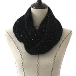 BLACK SEQUENCE LONG COTTON NECK SCARF NS1-0171BLK
