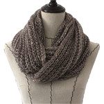 GRAY SEQUENCE LONG COTTON NECK SCARF NS1-0171GRY