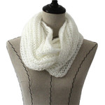 WHITE SEQUENCE LONG COTTON NECK SCARF NS1-0171WHT