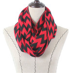 RED CHEVRON LONG COTTON NECK SCARF NS1-0172RED