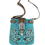 TURQUOISE BUCKLE WITH CROSS WESTERN LOOK MESSENGER BAG MB1-W13CRTRQ