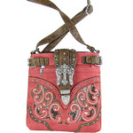 HOT PINK BUCKLE WITH CROSS WESTERN LOOK MESSENGER BAG MB1-W13CRHPK