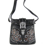 BLACK BUCKLE WITH CROSS WESTERN LOOK MESSENGER BAG MB1-W13CRBLK
