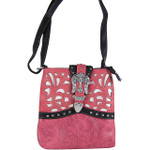HOT PINK BUCKLE WITH CROSS WESTERN LOOK MESSENGER BAG MB1-W56CRHPK