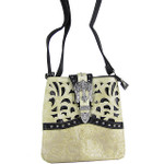 BEIGE BUCKLE WITH CROSS WESTERN LOOK MESSENGER BAG MB1-W56CRBEI