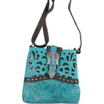 TURQUOISE BUCKLE WITH CROSS WESTERN LOOK MESSENGER BAG MB1-W56CRTRQ