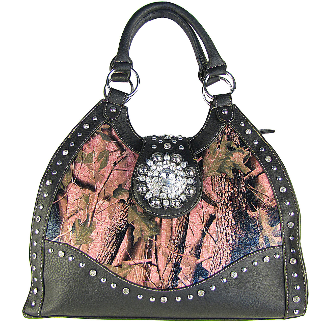 BLACK MOSSY CAMO RHINESTONE FLOWER BUCKLE LOOK SHOULDER HANDBAG HB1-CHF1020BLK