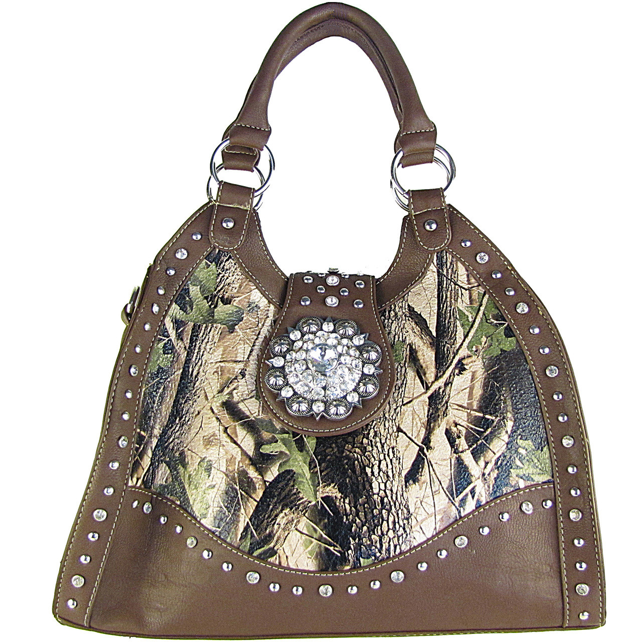 BROWN MOSSY CAMO RHINESTONE FLOWER BUCKLE LOOK SHOULDER HANDBAG HB1-CHF1020BRN
