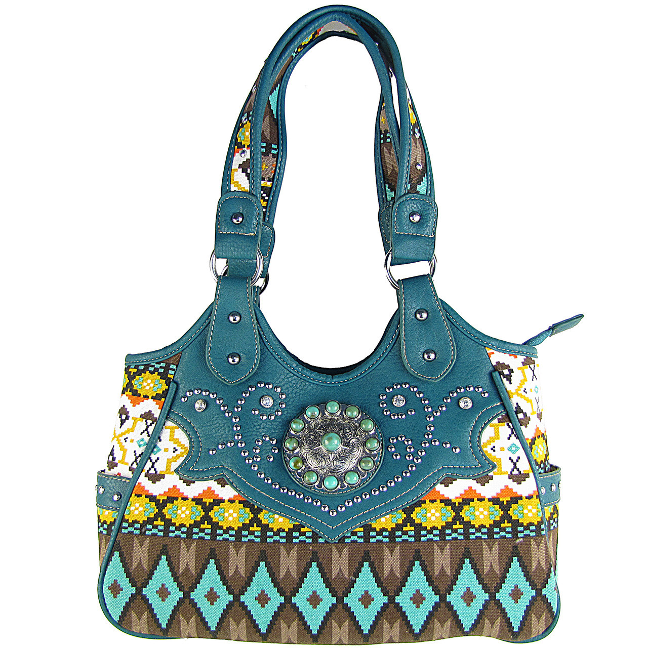 TURQUOISE TRIBAL FLOWER LOOK SHOULDER HANDBAG HB1-CHF901TRQ