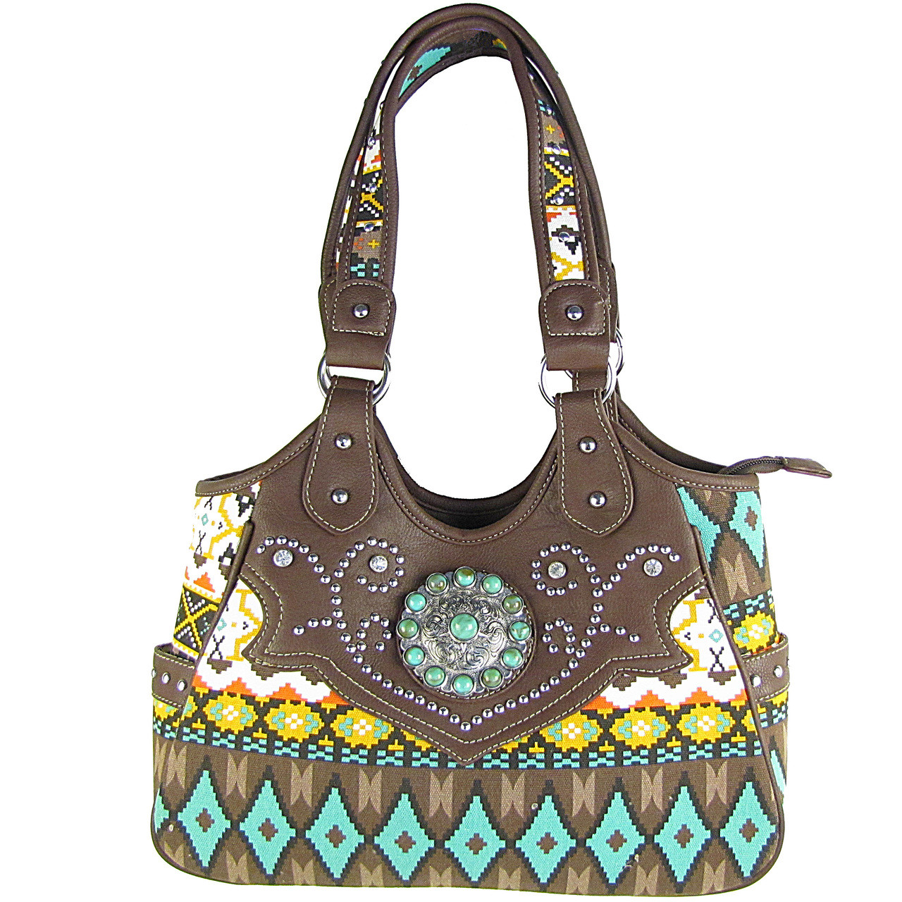 BROWN TRIBAL FLOWER LOOK SHOULDER HANDBAG HB1-CHF901BRN