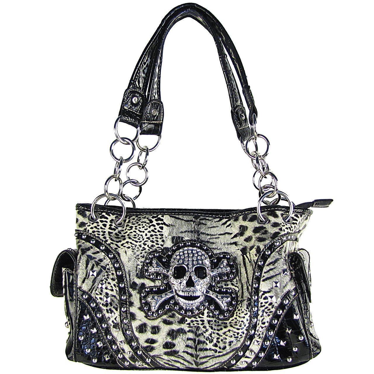 BLACK LEAPORD SKULL LOOK SHOULDER HANDBAG HB1-CHF0060BLK