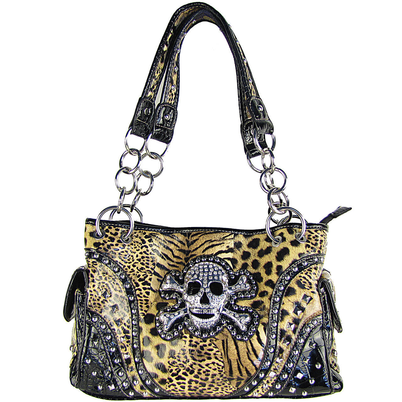 BROWN LEAPORD SKULL LOOK SHOULDER HANDBAG HB1-CHF0060BRN