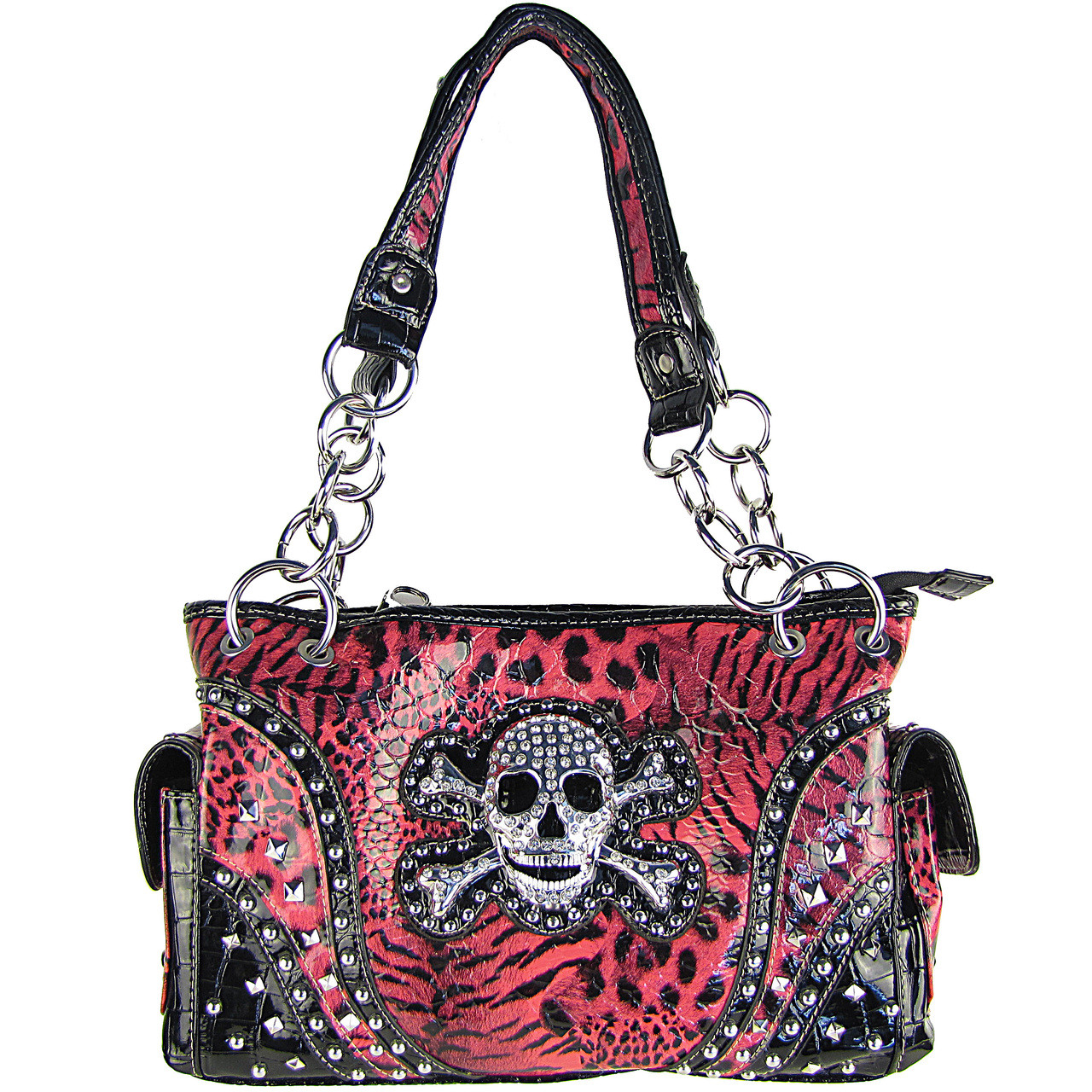HOT PINH LEAPORD SKULL LOOK SHOULDER HANDBAG HB1-CHF0060HPK