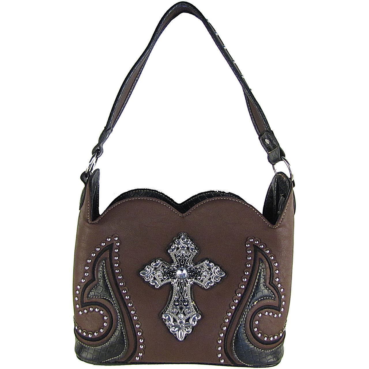BROWN STUDDED CROSS CONCEALED CARRY LOOK SHOULDER HANDBAG HB1-CHF1047BRN