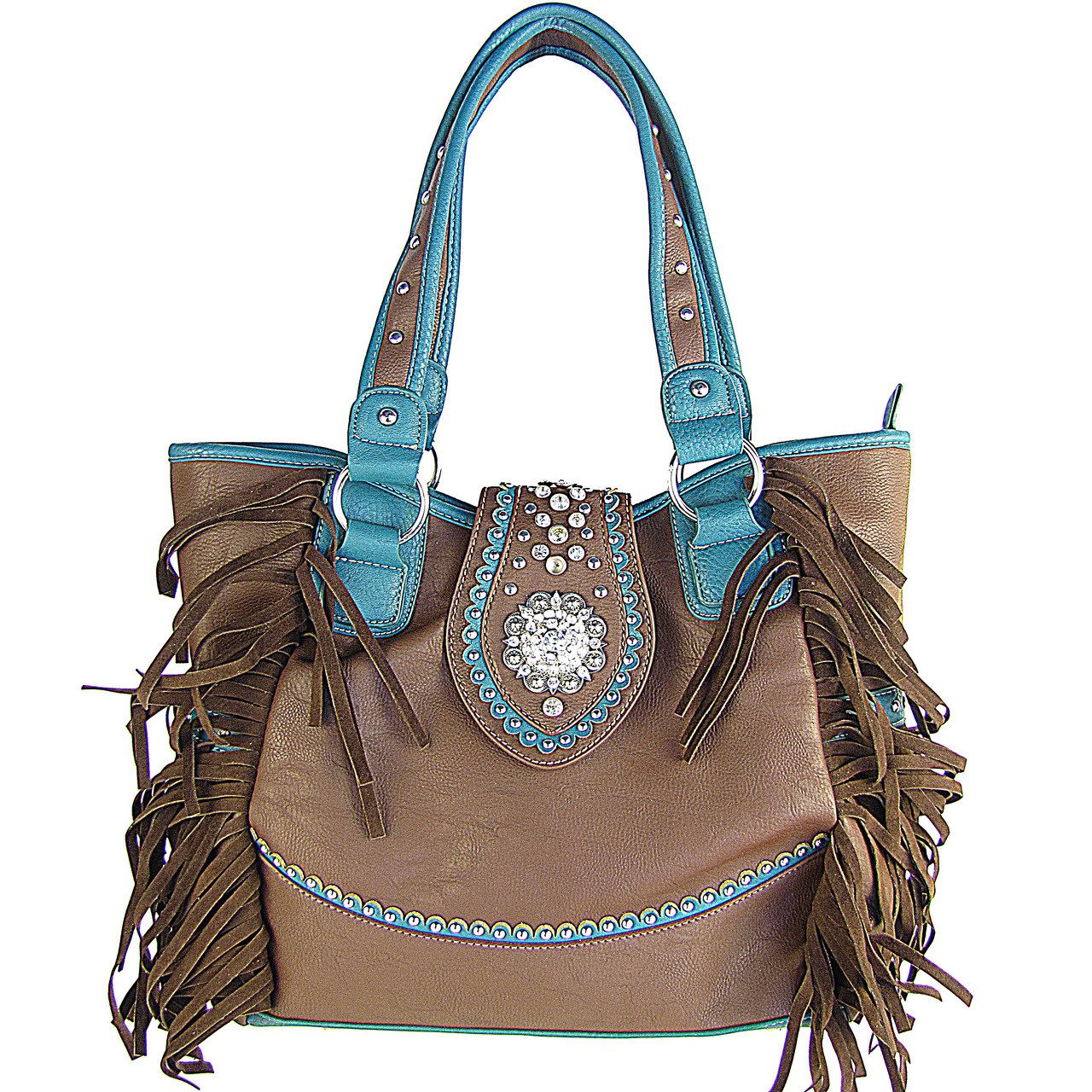 BROWN RHINESTONE FLOWER BUCKLE LOOK SHOULDER HANDBAG HB1-CHF116BRN