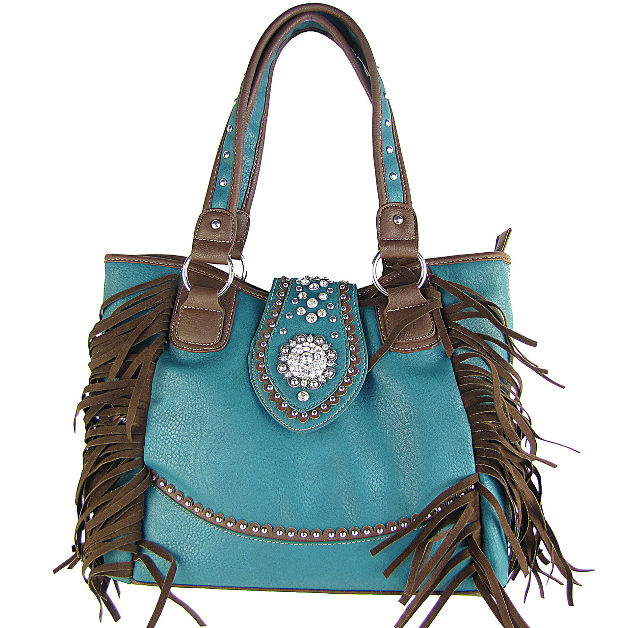 TURQUOISE RHINESTONE FLOWER BUCKLE LOOK SHOULDER HANDBAG HB1-CHF116TRQ