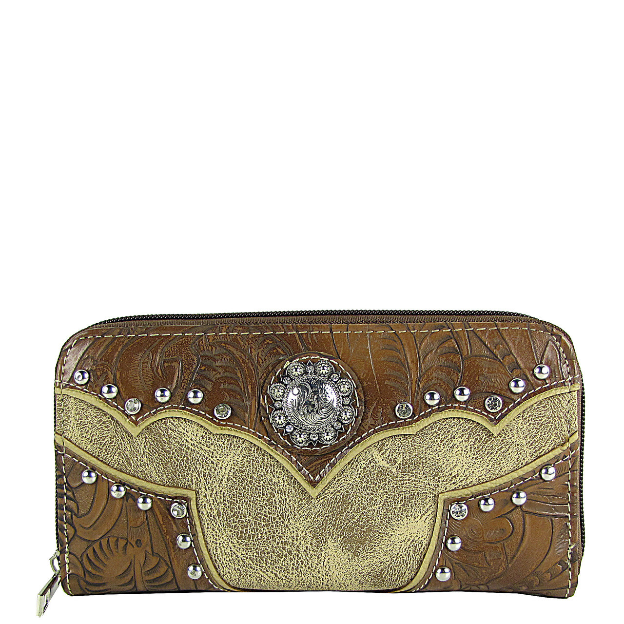 BEIGE WESTERN STUDDED LOOK ZIPPER WALLET CB3-1202BEI