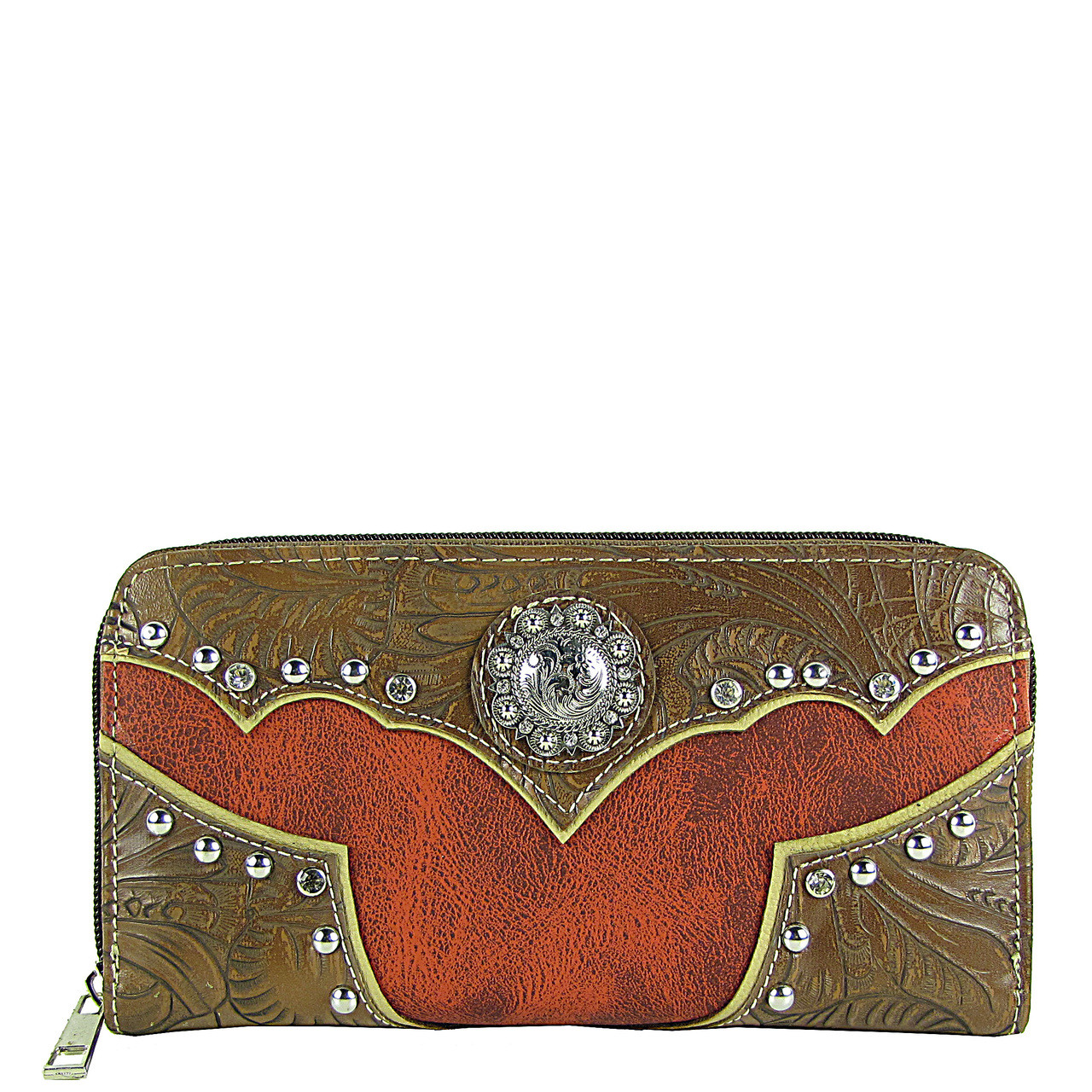 RED WESTERN STUDDED LOOK ZIPPER WALLET CB3-1202RED