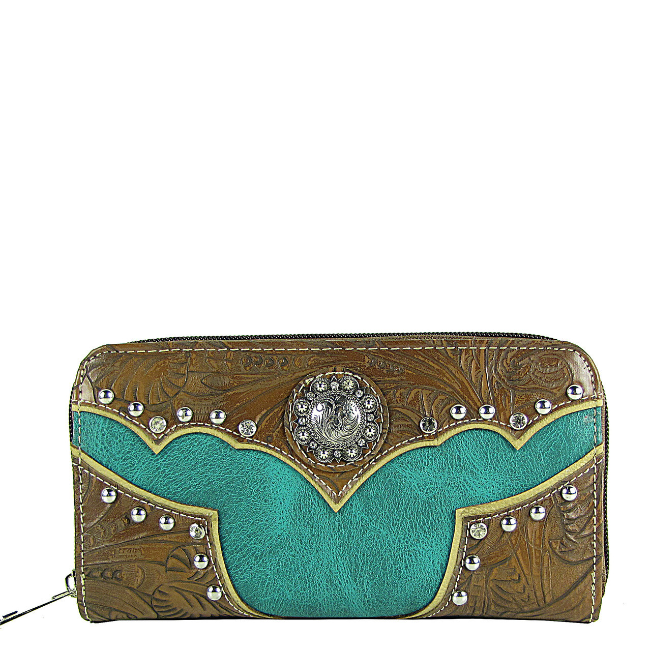 TURQUOISE WESTERN STUDDED LOOK ZIPPER WALLET CB3-1202TRQ