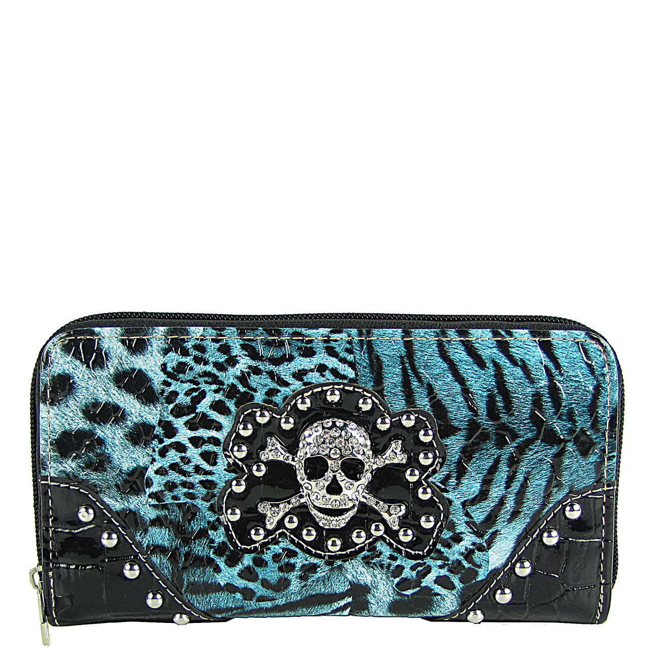 TURQUOISE STUDDED LEAPORD SKULL LOOK ZIPPER WALLET CB3-1203TRQ
