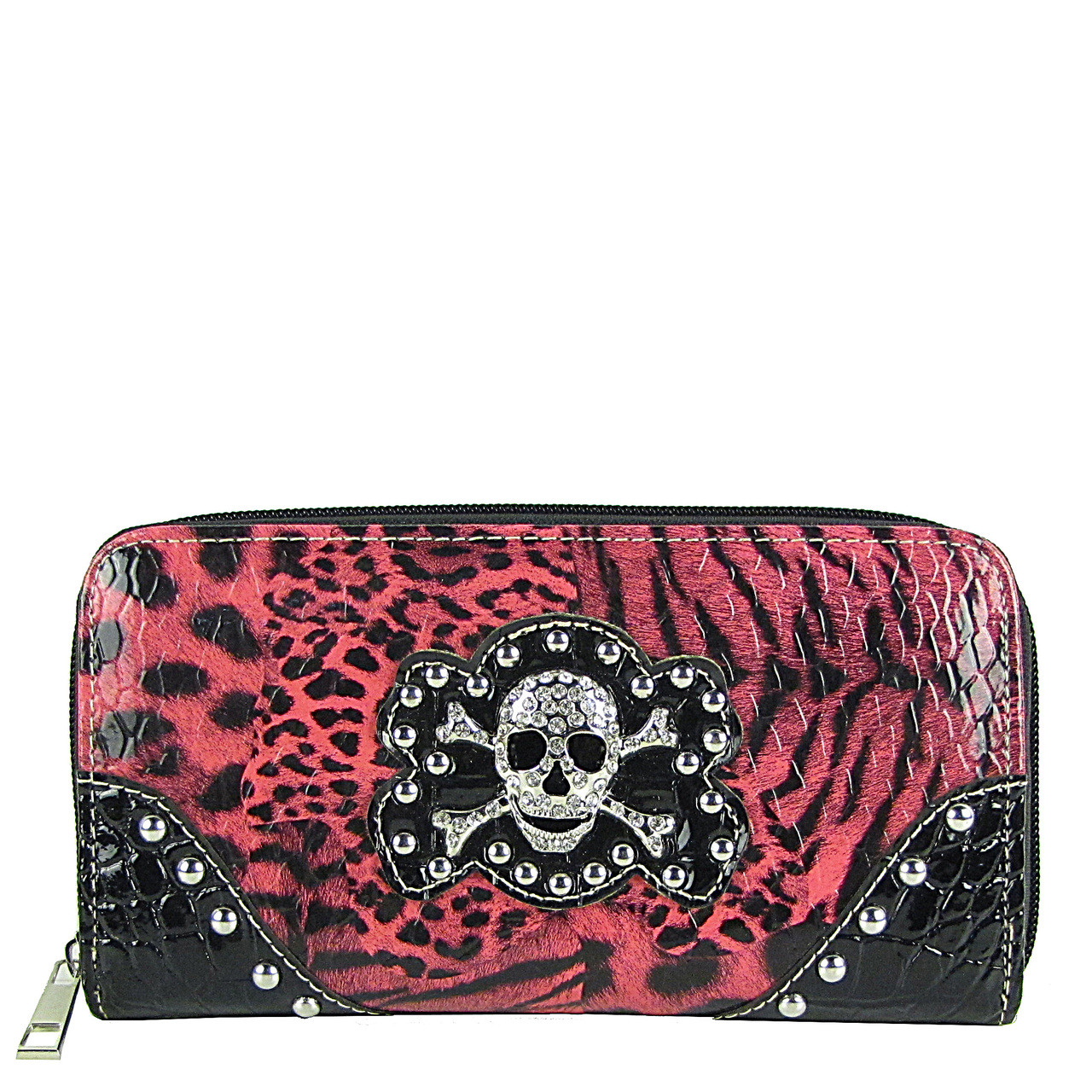 HOT PINK STUDDED LEAPORD SKULL LOOK ZIPPER WALLET CB3-1203HPK