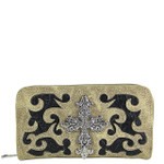 BEIGE WESTERN TOOLED CROSS LOOK ZIPPER WALLET CB3-0400BEI