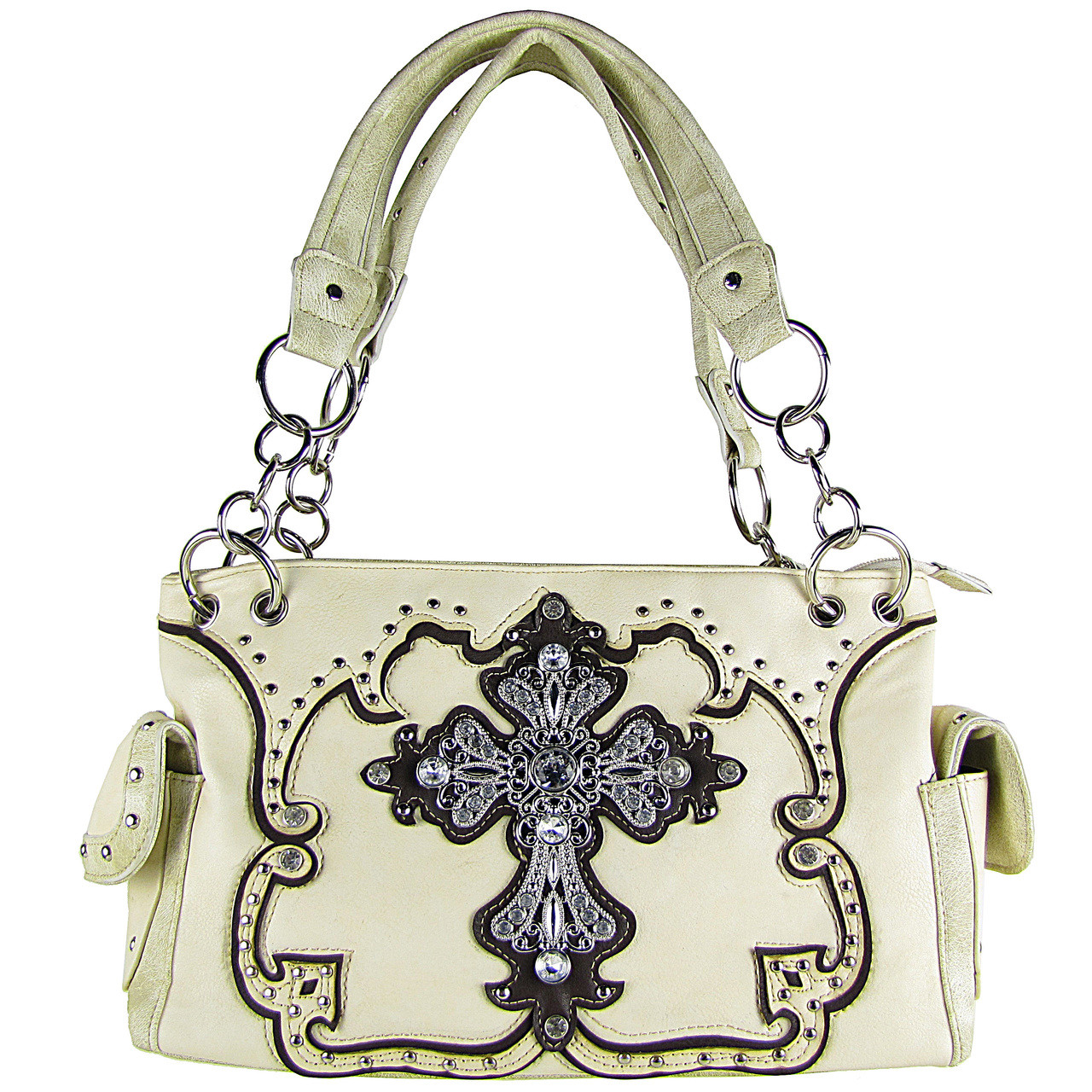 BEIGE STUDDED RHINESTONE CROSS LOOK SHOULDER HANDBAG HB1-66LCRBEI