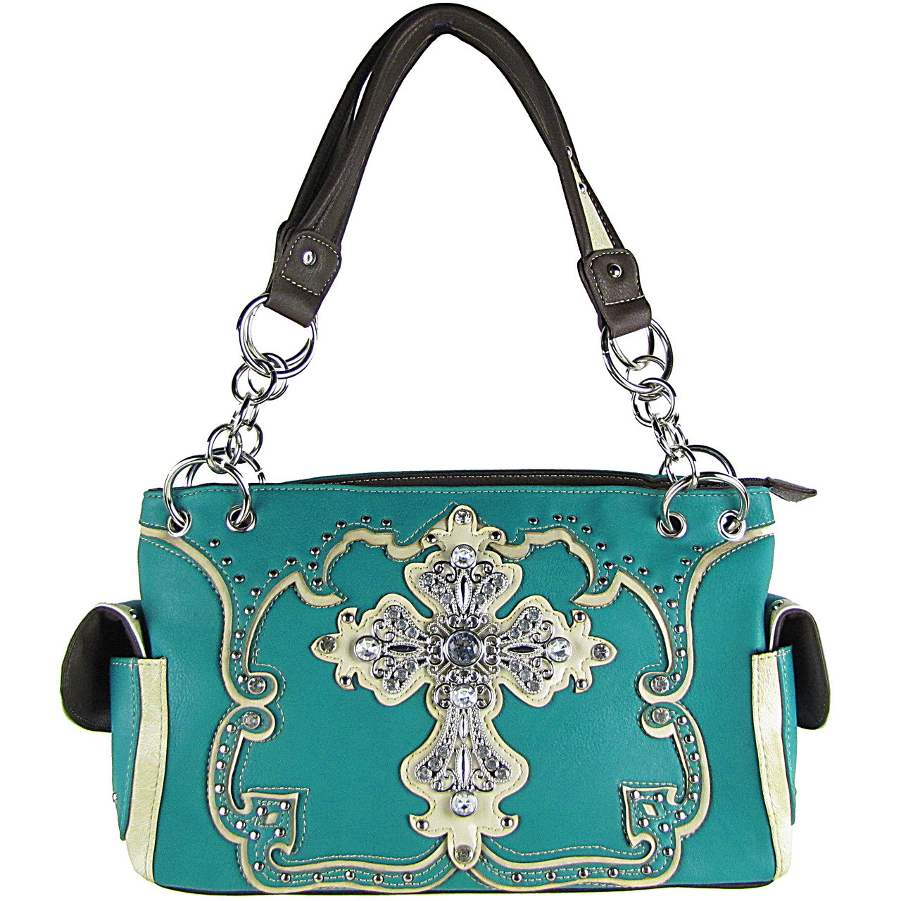 TURQUOISE STUDDED RHINESTONE CROSS LOOK SHOULDER HANDBAG HB1-66LCRTRQ