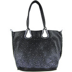 BLACK FULL METALLIC RHINESTONE LOOK SHOULDER HANDBAG HB1-AB8708BLK