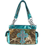 AQUA TOOLED  MOSSY CAMO RHINESTONE CROSS SHOULDER HANDBAG HB1-M8811AQU