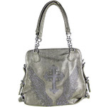 GRAY RHINESTONE CROSS WITH WINGS LOOK SHOULDER HB1-6072GRY