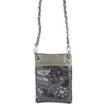 GRAY METALLIC  RHINESTONES FLOWER MINI MESSENGER BAG MB2-1214GRY