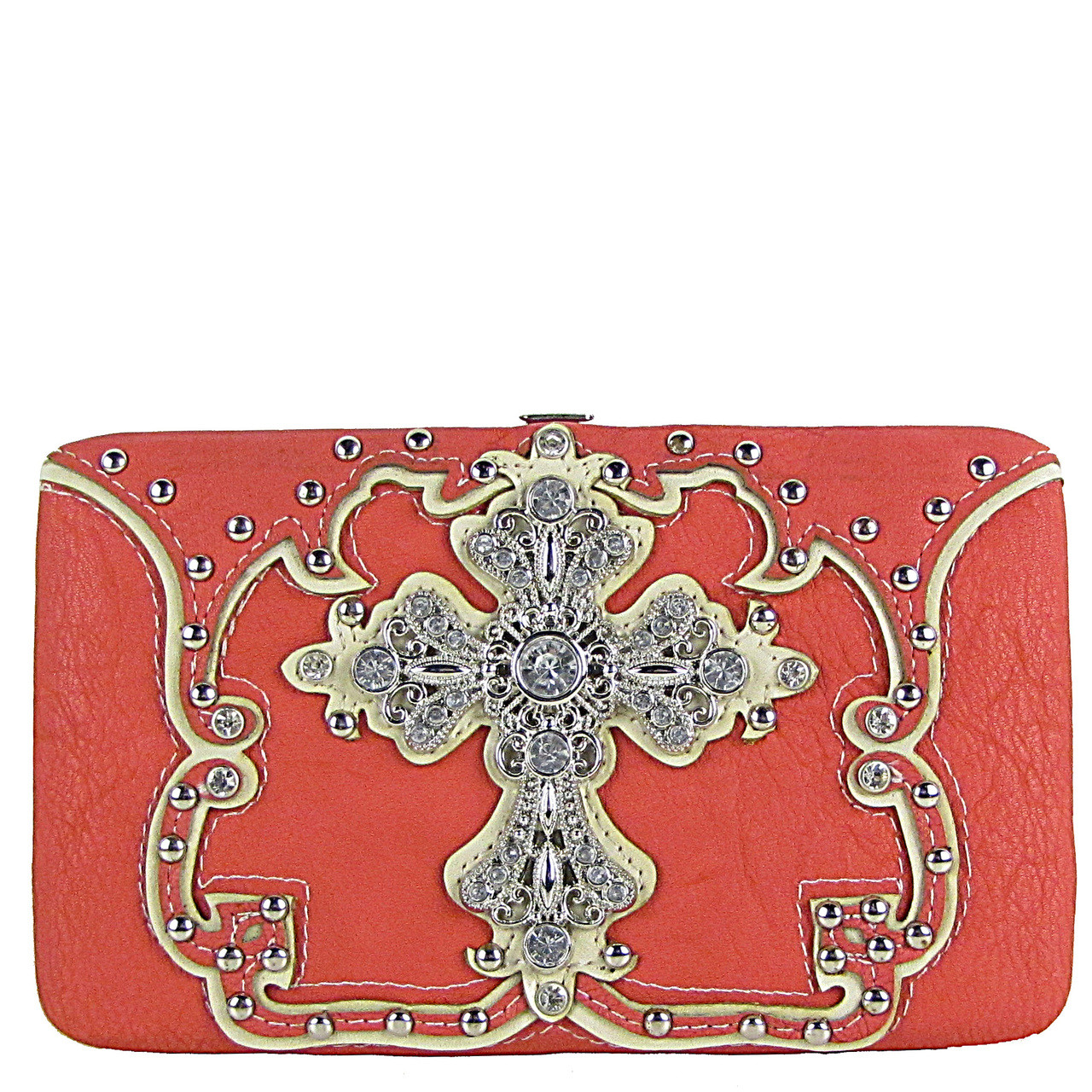HOT PINK STUDDED RHINESTONE CROSS LOOK FLAT THICK WALLET FW2-04124HPK