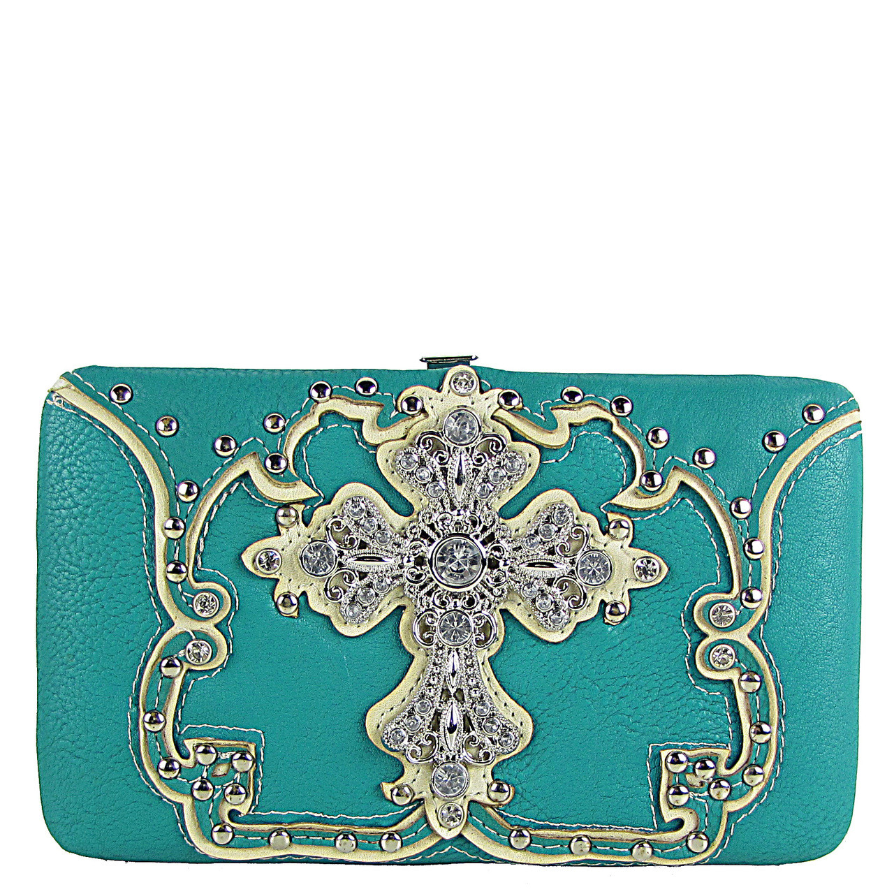 TURQUOISE STUDDED RHINESTONE CROSS LOOK FLAT THICK WALLET FW2-04124TRQ