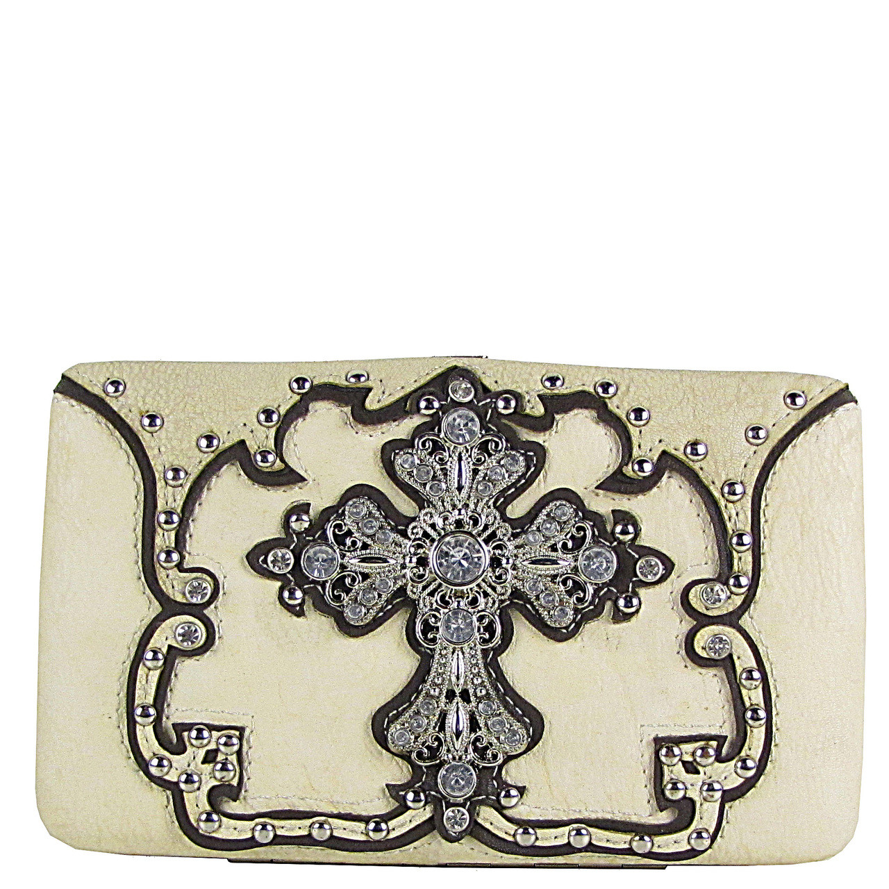 BEIGE STUDDED RHINESTONE CROSS LOOK FLAT THICK WALLET FW2-04124BEI