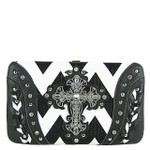BLACK CHEVRON STUDDED RHINESTONE CROSS LOOK FLAT THICK WALLET FW2-04123BLK