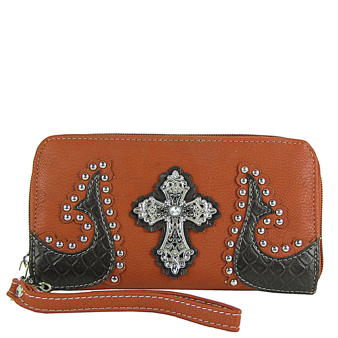 RED WESTERN STUDDED TOOLED CROSS LOOK ZIPPER WALLET CB3-0401RED