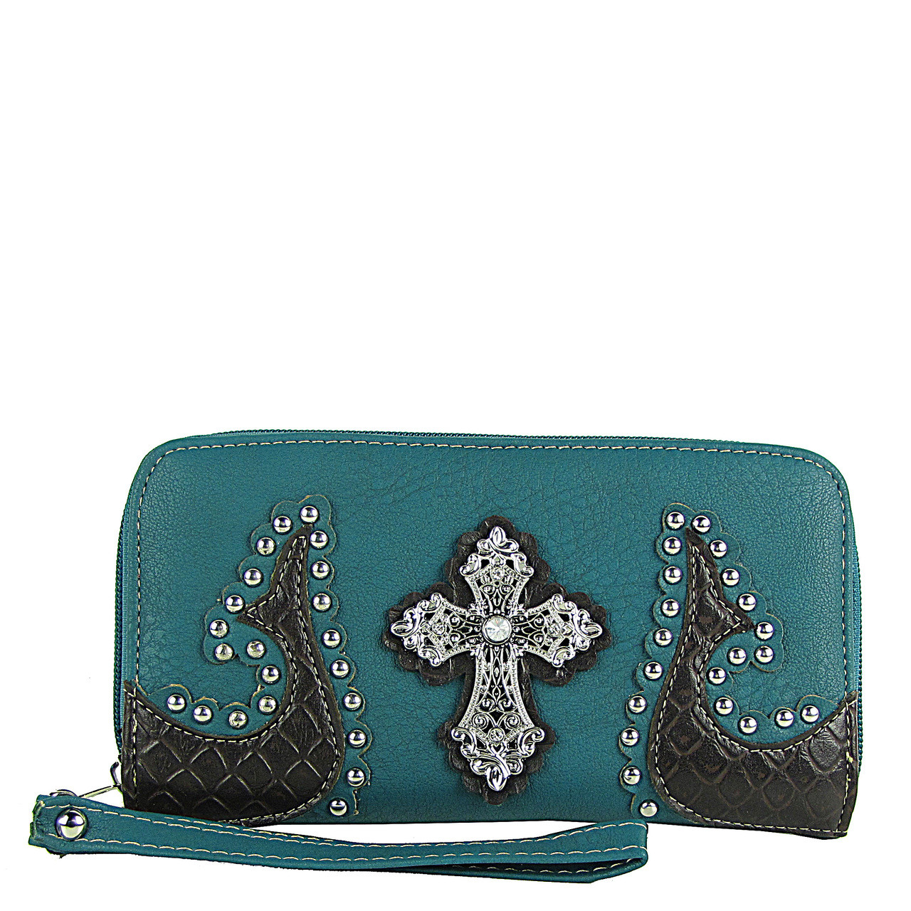 TURQUOISE WESTERN STUDDED TOOLED CROSS LOOK ZIPPER WALLET CB3-0401TRQ